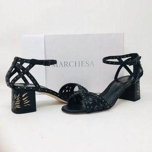 Marchesa Mariama Black Leather Block Heel Sandals